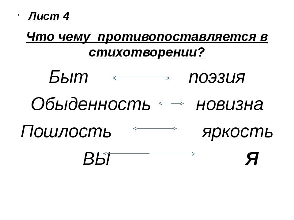 Лист 4 Что чему противопоставляется в стихотворении? Быт поэзия Обыденность...