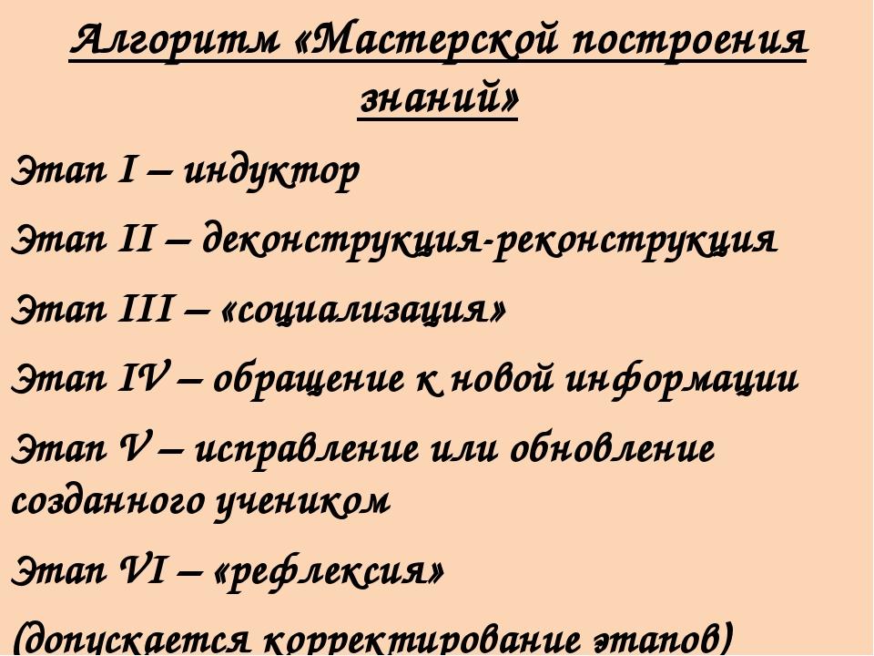 Алгоритм «Мастерской построения знаний» Этап I – индуктор Этап II – деконстр...