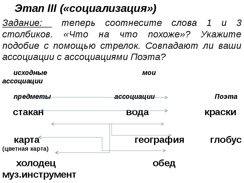 Этап III («социализация») Задание: теперь соотнесите слова 1 и 3 столбиков. «...