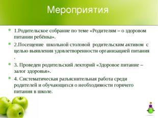 Мероприятия 1.Родительское собрание по теме «Родителям – о здоровом питании р