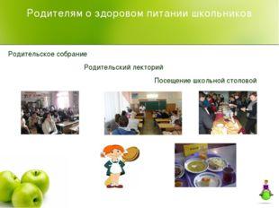 Родителям о здоровом питании школьников Родительское собрание Родительский ле