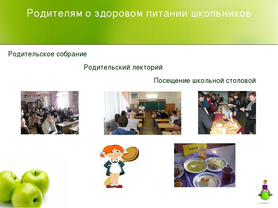Родителям о здоровом питании школьников Родительское собрание Родительский ле...