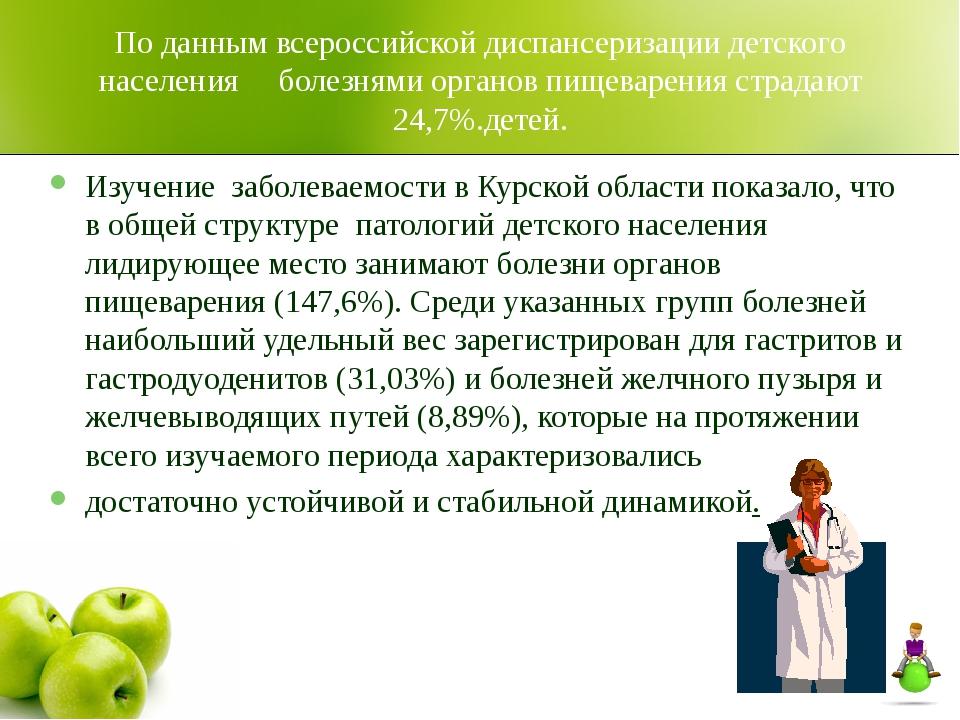 По данным всероссийской диспансеризации детского населения болезнями органов...