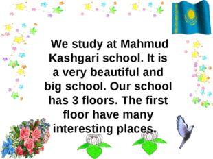 We study at Mahmud Kashgari school. It is a very beautiful and big school. O