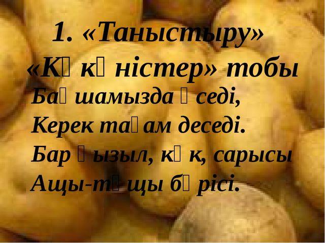 1. «Таныстыру» «Көкөністер» тобы Бақшамызда өседі, Керек тағам деседі. Бар қы...