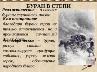 БУРАН В СТЕПИ Реалистическое – в степях бураны случаются часто. Композиционно
