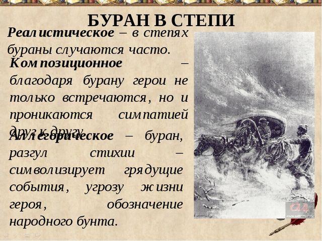 БУРАН В СТЕПИ Реалистическое – в степях бураны случаются часто. Композиционно...