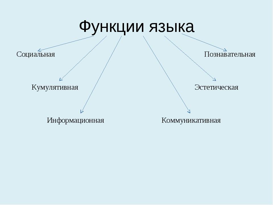 Функции языка Социальная Познавательная Кумулятивная Эстетическая Информацион...