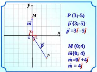 О 1 P (3;-5) M (0;4) x y *