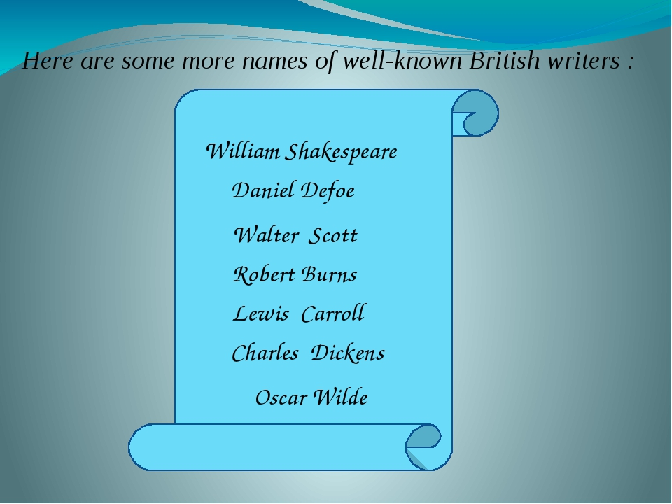 Here are some more names of well-known British writers : William Shakespeare...