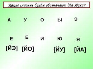Какие гласные буквы обозначают два звука? А Ы У О Э Е Ё И Я Ю [ЙЭ] [ЙО] [ЙУ]