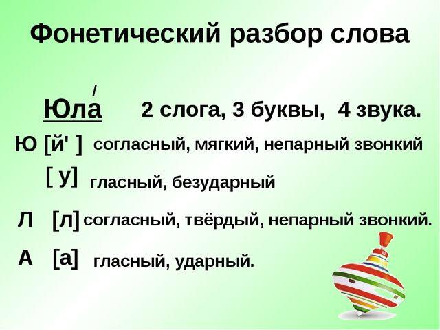 Фонетический разбор слова Юла 2 слога, 3 буквы, 4 звука. Ю [й' ] [ у] гласный...