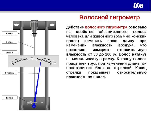 Стрелка Шкала Грузик Волос Рамка Действие волосного гигрометра основано на св...