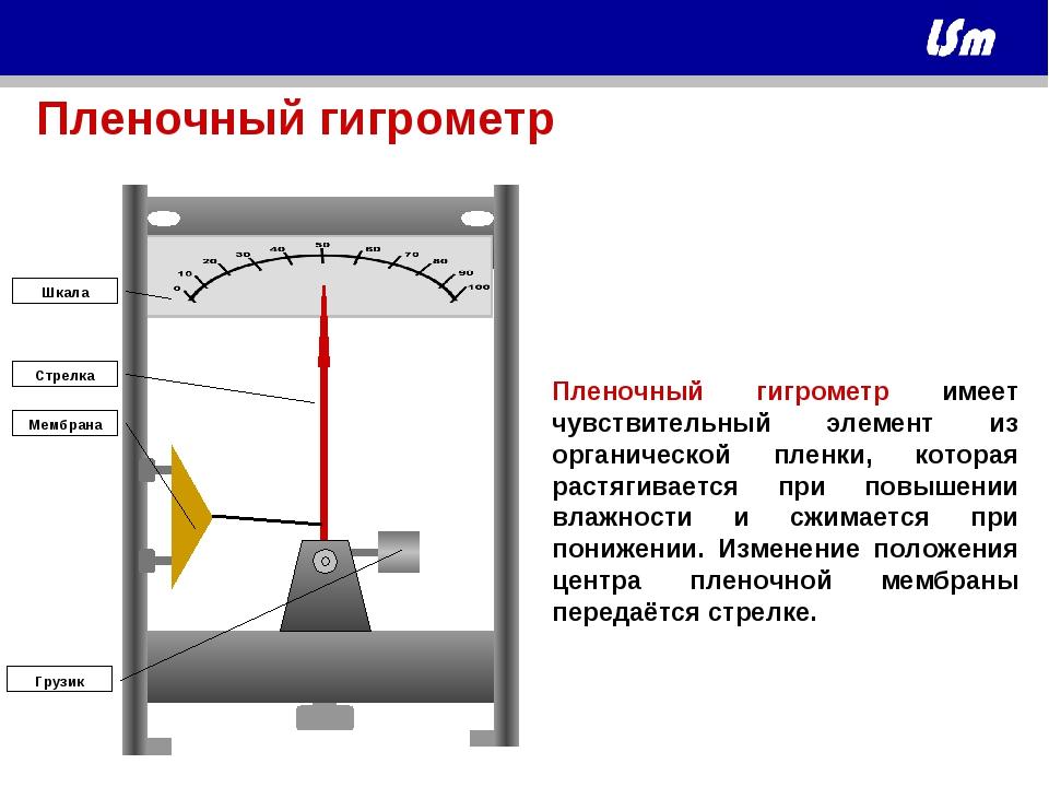 Пленочный гигрометр имеет чувствительный элемент из органической пленки, кото...