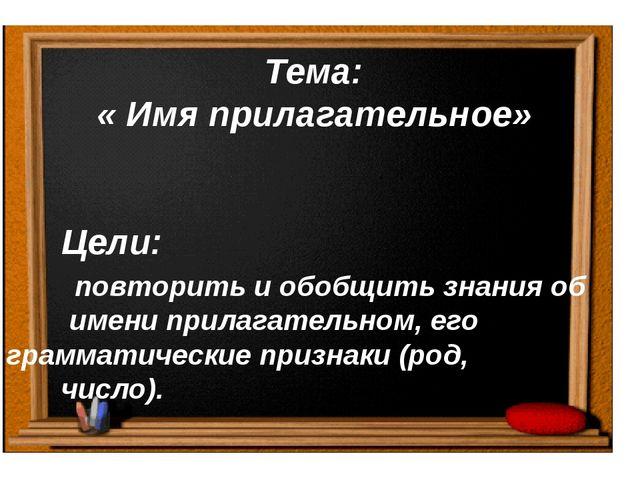 Тема: « Имя прилагательное» Цели: повторить и обобщить знания об имени прила...