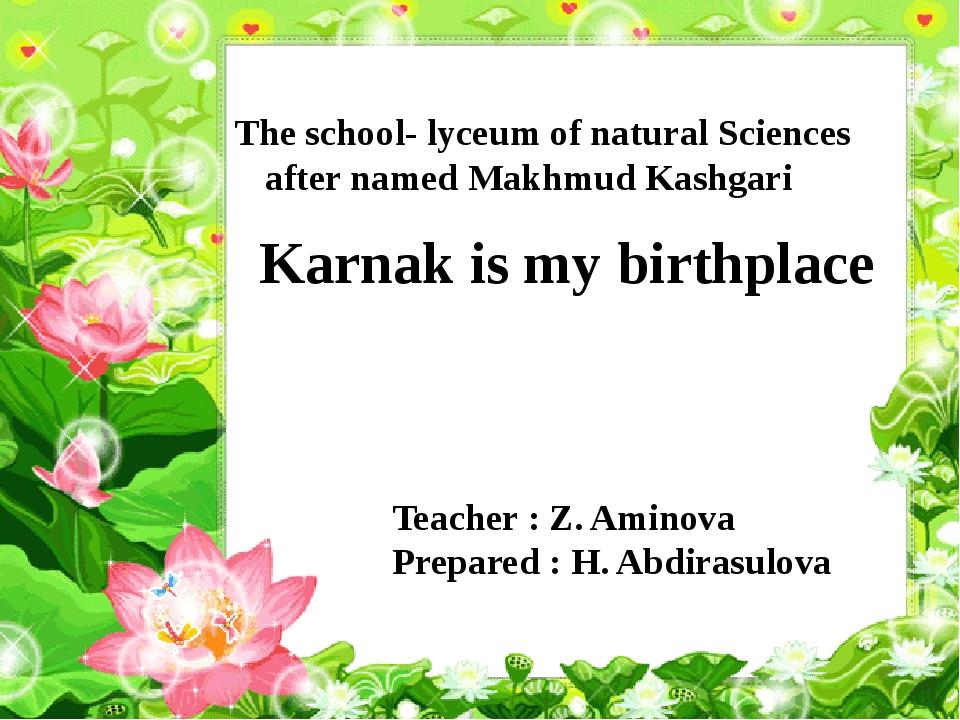 The school- lyceum of natural Sciences after named Makhmud Kashgari Karnak i...