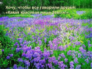Хочу, чтобы все говорили друзья: «Какая красивая наша Земля!»
