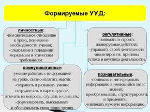 личностные: -положительное отношение к уроку, понимание необходимости учения;
