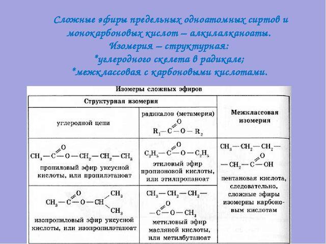 Сложные эфиры предельных одноатомных сиртов и монокарбоновых кислот – алкила...