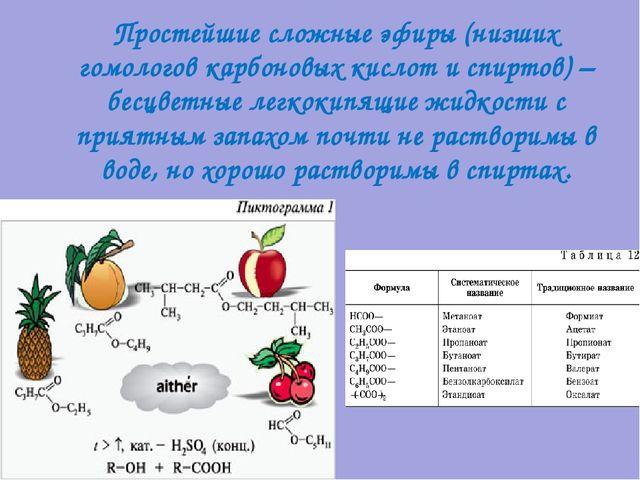 Простейшие сложные эфиры (низших гомологов карбоновых кислот и спиртов) – бес...
