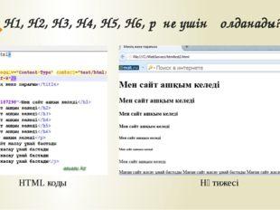 H1, H2, H3, H4, H5, H6, p не үшін қолданады? HTML коды Нәтижесі