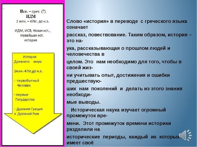 Слово «история» в переводе с греческого языка означает рассказ, повествовани...