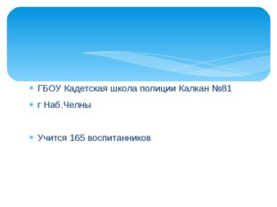 ГБОУ Кадетская школа полиции Калкан №81 г Наб.Челны Учится 165 воспитанников