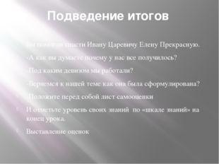 Подведение итогов Вы помогли спасти Ивану Царевичу Елену Прекрасную. -А как в