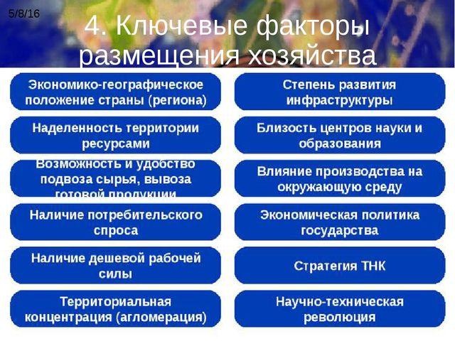 4. Ключевые факторы размещения хозяйства