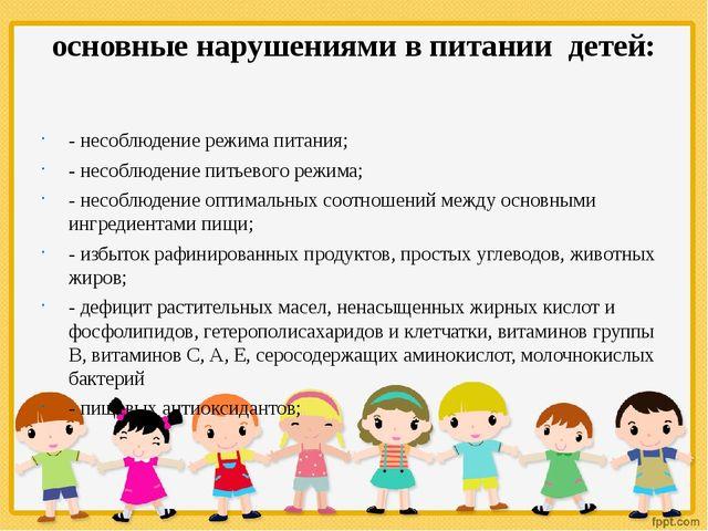 основные нарушениями в питании детей: - несоблюдение режима питания; - несобл...