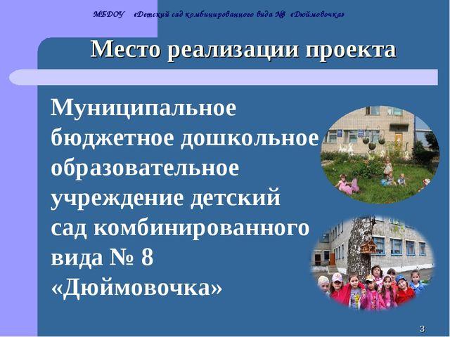 * Место реализации проекта МБДОУ «Детский сад комбинированного вида №8 «Дюймо...