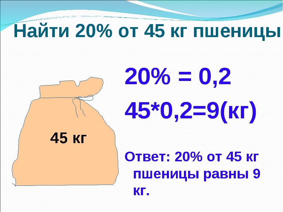 Найти 20% от 45 кг пшеницы 20% = 0,2 45*0,2=9(кг) Ответ: 20% от 45 кг пшениц...