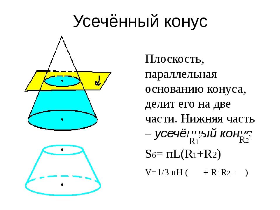 Усечённый конус Плоскость, параллельная основанию конуса, делит его на две ча...