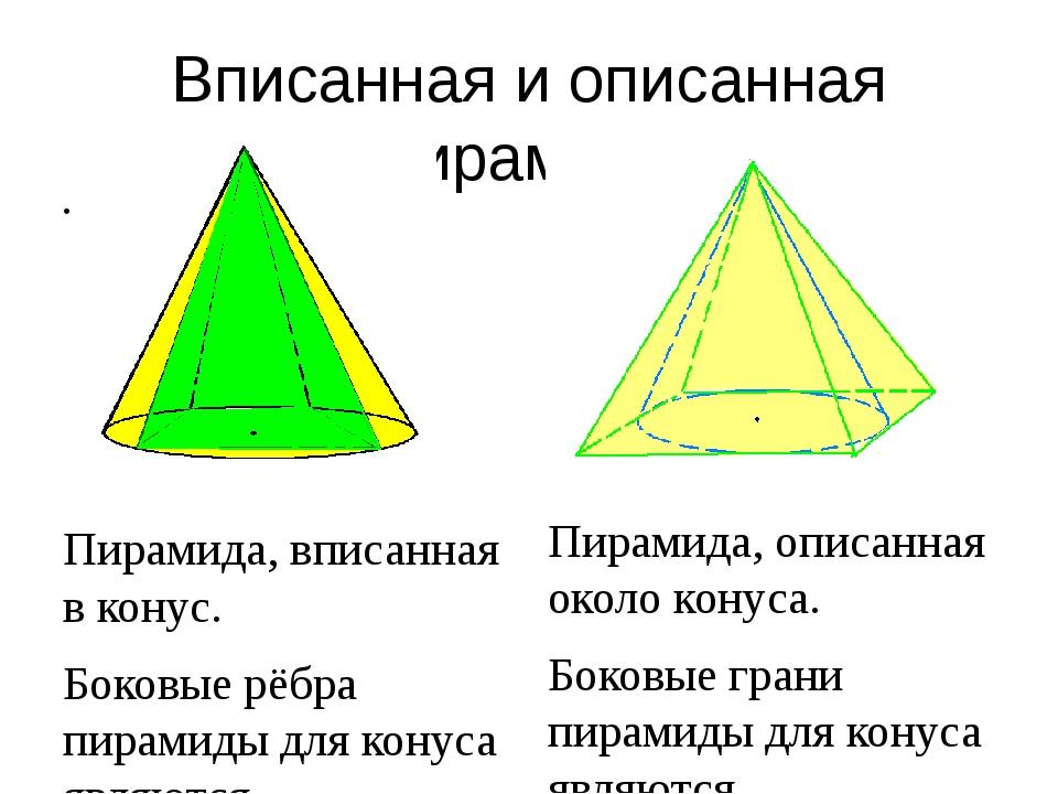 Вписанная и описанная пирамида Пирамида, вписанная в конус. Боковые рёбра пир...