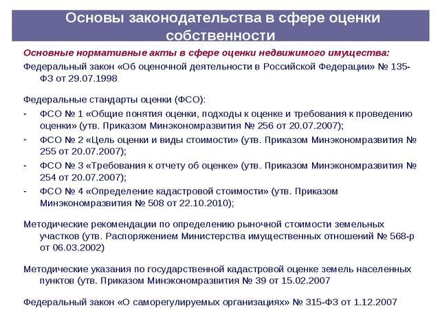 Основы законодательства в сфере оценки собственности Основные нормативные ак...