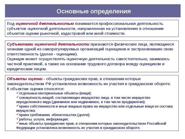 Основные определения Под оценочной деятельностью понимается профессиональная...