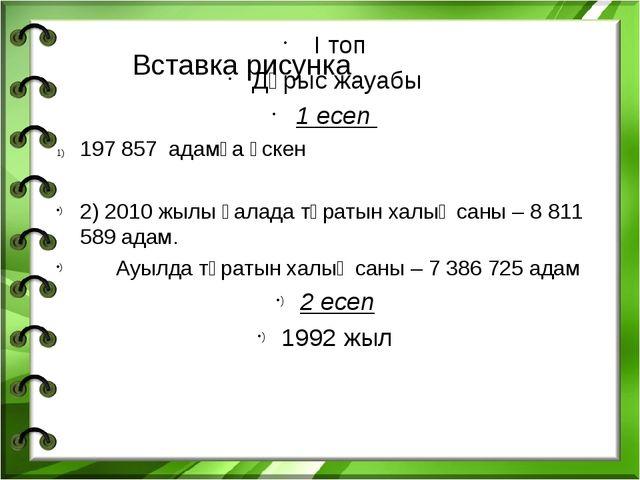 І топ Дұрыс жауабы 1 есеп 197 857 адамға өскен 2) 2010 жылы қалада тұратын х...