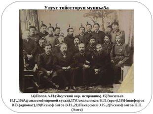 14)Попов А.И.(Якутский окр. исправник),15)Васильев И.Г.,16)Афанасьев(мировой