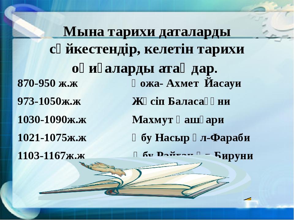 Мына тарихи даталарды сәйкестендір, келетін тарихи оқиғаларды атаңдар. 870-95...