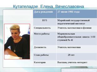 Кутателадзе Елена Вячеславовна Кутателадзе Е.В. ОШ № 41 2016 г. Дата рождения