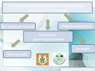 Классификация проектов по доминирующей деятельности учащихся Практико-ориенти