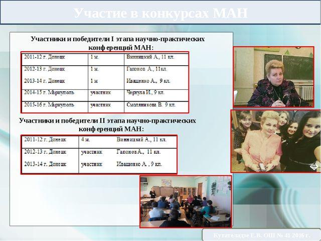 Участие в конкурсах МАН Участники и победители ІІ этапа научно-практических к...