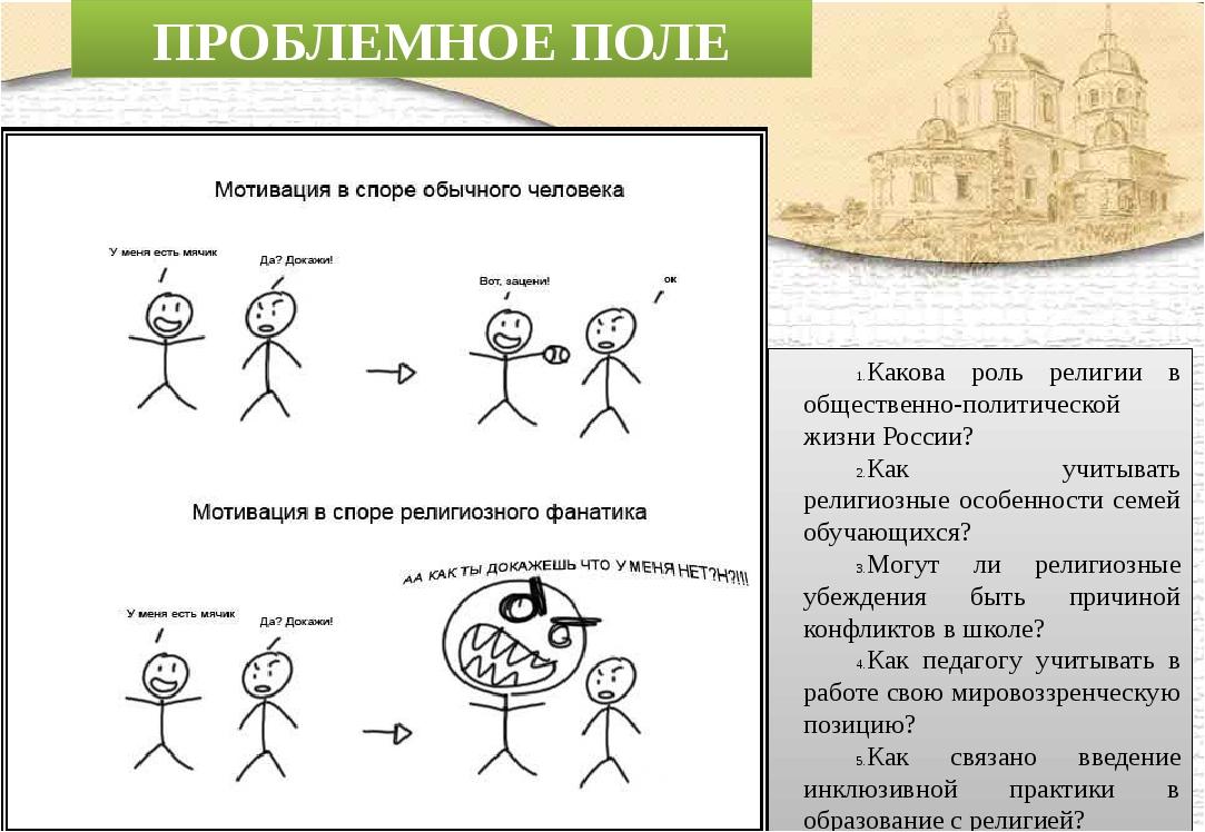 ПРОБЛЕМНОЕ ПОЛЕ Какова роль религии в общественно-политической жизни России?...