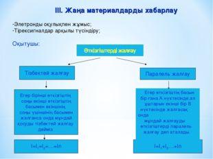 III. Жаңа материалдарды хабарлау Элетронды оқулықпен жұмыс; Тірексигналдар ар