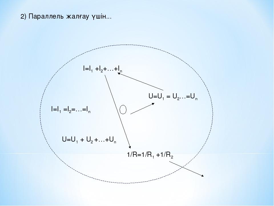 2) Параллель жалғау үшін... U=U1 = U2…=Un I=I1 +I2+…+In I=I1 =I2=…=In U=U1 +...