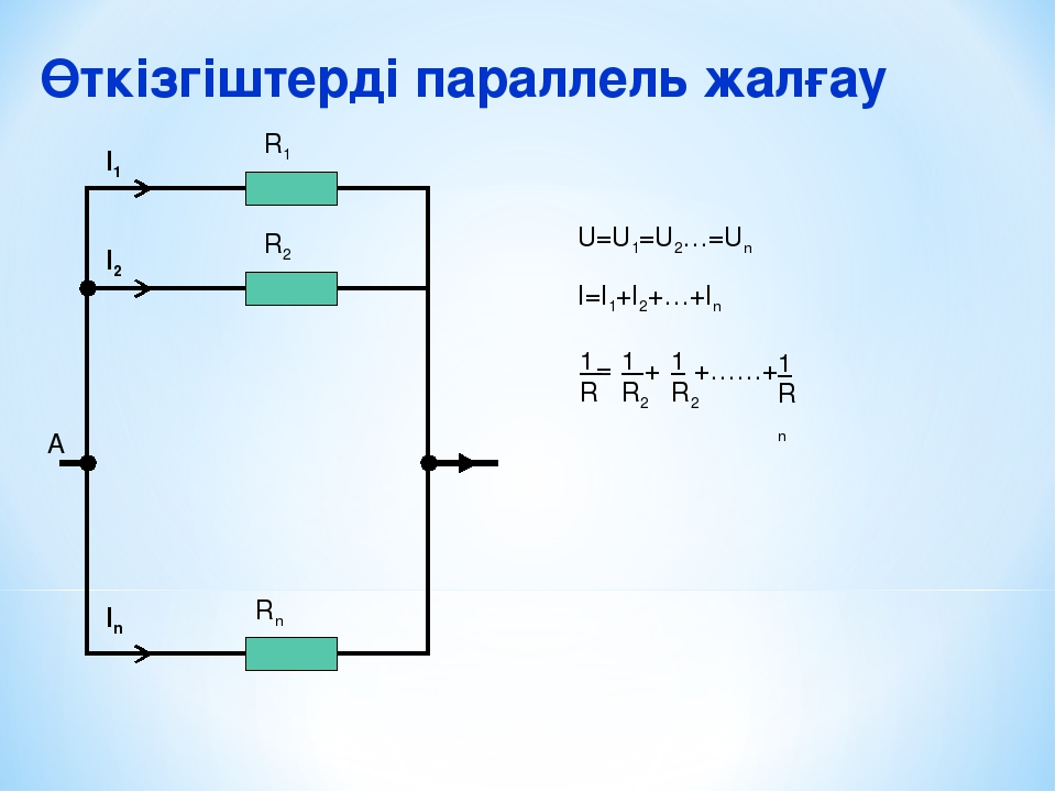 Өткізгіштерді параллель жалғау А I1 I2 In R1 R2 Rn U=U1=U2…=Un I=I1+I2+…+In 1...