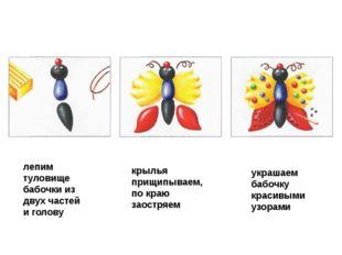 лепим туловище бабочки из двух частей и голову крылья прищипываем, по краю за