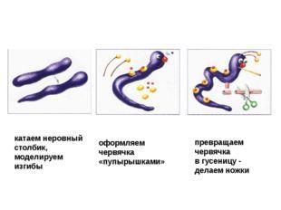 катаем неровный столбик, моделируем изгибы оформляем червячка «пупырышками» п
