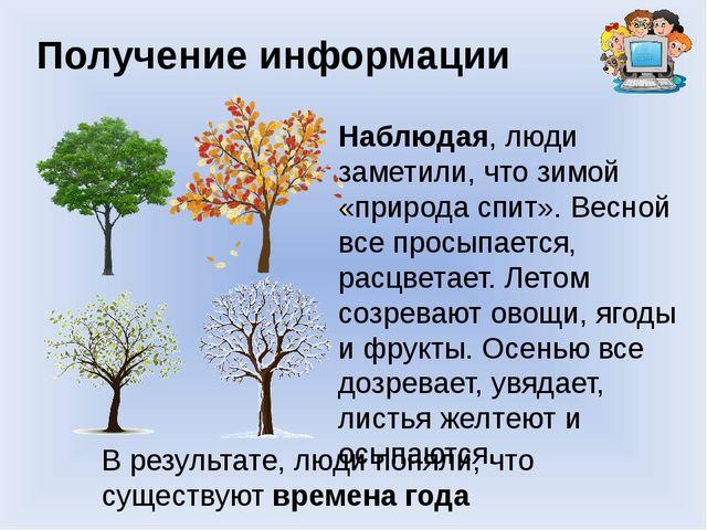 Получение информации Наблюдая, люди заметили, что зимой «природа спит». Весно...