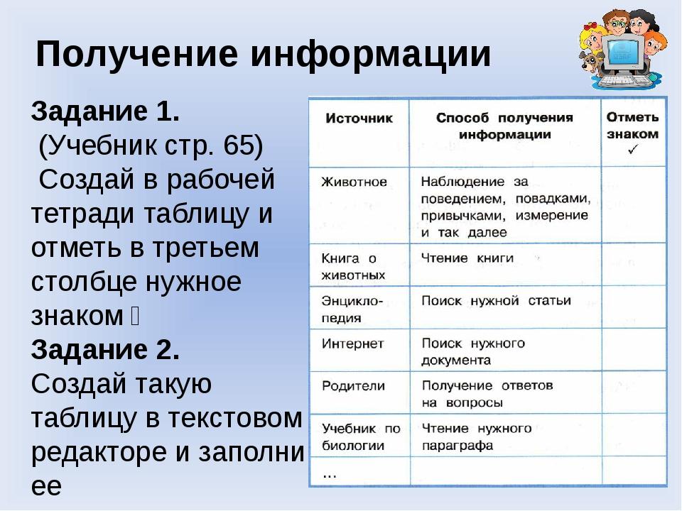 Получение информации Задание 1. (Учебник стр. 65) Создай в рабочей тетради та...